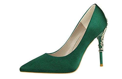 LUCKY ROAD Spitzschuh Low Mid Kitten Heels Dress Court Schuhe Hochzeit Büro Schuhe Satin Oberen Für Frauen Damen Candy Farbe Sandalen,Green,EU40 (Heel Satin Mid)