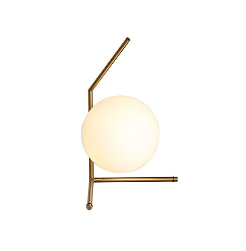 GUIHONG HOME® Moderne einfache Tischlampe, Ball Glas Schirm Eisen Schlafzimmer Nachttisch Gegenleuchten Wohnzimmer Studie monochromatische Licht E14 * 1 Netzschalter-Taste Nordische Kreativität