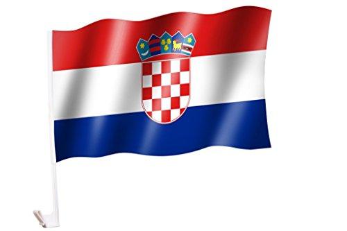 2 Stück/1 Paar Autoflagge/Autofahne Kroatien / Hrvatska / Croatia - Fahne / Flagge für Auto 2x - car flag