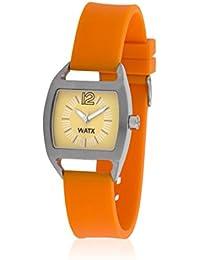 Watx RWA0703 - Reloj con correa de caucho para mujer, color naranja / gris