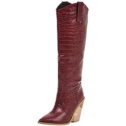 POLP Botas de Tacón de 5 cm Botas de Locomotora de Cuña Vintage Botas de Caballero Cómodas Botas de Vaquero Mujer Zapatos de Cuñas Clásicas Zapatos de Tacón