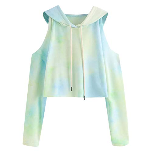 U.Expectating Frauen Teen Girls kalte Schulter Tie Dye Pullover Hoodie Crop Top Langarm Sweatshirt - Für Tie-dye-sweatshirt Frauen