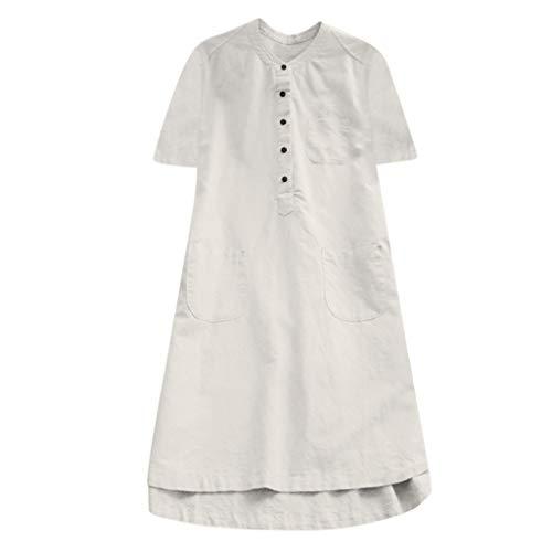 NPRADLA Frühling Sommer Elegante Maxi Kleider Damen Frauen Button Down Langarm Casual Täglichen Party Strand Urlaub Lose Tunika Tops Bluse