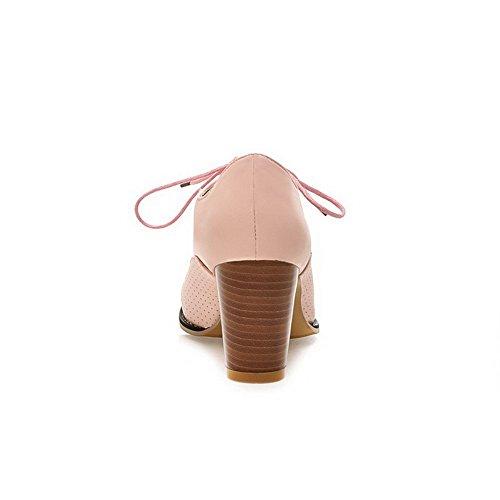 VogueZone009 Femme Rond Lacet Pu Cuir Couleur Unie à Talon Haut Chaussures Légeres Rose
