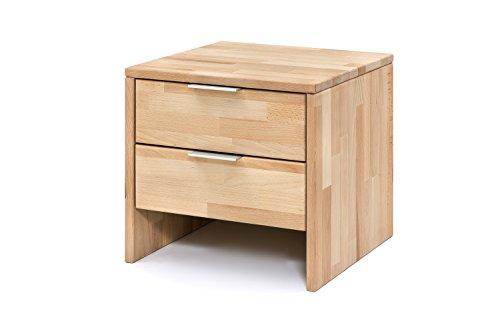 Woodlive Nachttisch Nick aus massiver Kernbuche, brauner Nacht-Schrank, als Kommode und Ablagetisch verwendbar, inkl. 2 Schubladen, 1 Nachtkonsole á 40 x 40 cm