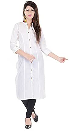 Mystique India Women's Cotton Straight Princess cut kurti (S,Off-white)