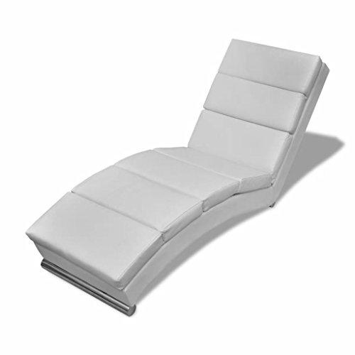 mewmewcat Sedia a Sdraio in Pelle Artificiale Bianca, Chaise Longue Poltrona Relax Design Moderna in Pelle Artificiale