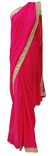 Indische Georgette Saree Solid Perlen Mode Lace Sari Mit Bluse (Bluse Georgette Lace)