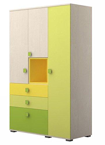 Jugendzimmer - Drehtürenschrank / Kleiderschrank Matthias 07, Farbe: Creme / Grün / Gelb - Abmessungen: 200 x 125 x 56 cm (H x B x T)