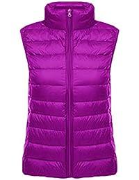 2fb397e02ad608 DianShaoA Frauen Klassisch Packbare Leichte Winter Stehkragen Daunenweste  Reißverschluss Packbare