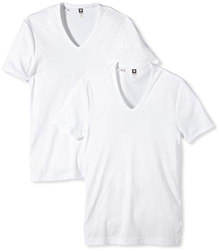 G-STAR Herren T-Shirt Base V 2er Pack, Gr. Large, Weiß (white 110)