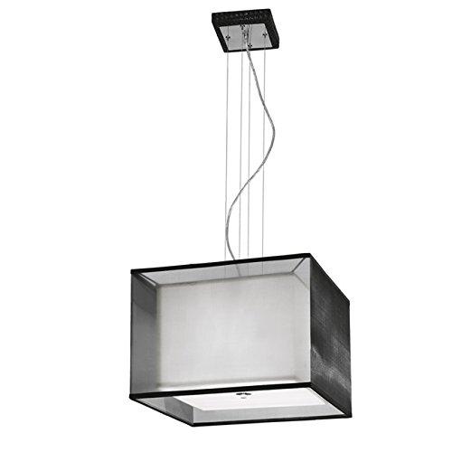 Lampadario in ecopelle nero paralume bianco Cm 45x45xH 150 Lampade 3xE27
