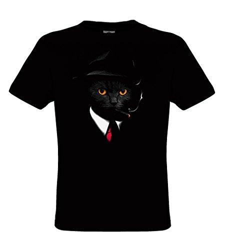 DarkArt-Designs Agent Cat - Katzen T-Shirt für Kinder und Erwachsene - Tiermotiv Shirt Haustier Wildlife Fun Party&Freizeit Lifestyle Regular Fit, Größe152/164, Schwarz (Erwachsenen T-shirt James)
