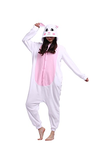 Imagen de magicmode unisex lindo de la historieta enterizo de cosplay pijamas anime animales disfraces de adultos sudadera con capucha kigurumi pijamas conejo blanco s alternativa