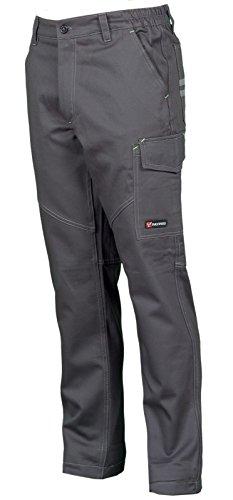 CHEMAGLIETTE! Pantaloni da Lavoro in Cotone 100% Multi Stagione Vestibilità Regular Tasche Laterali Portametro Bande Reflex, Colore: Smoke, Taglia: XXL