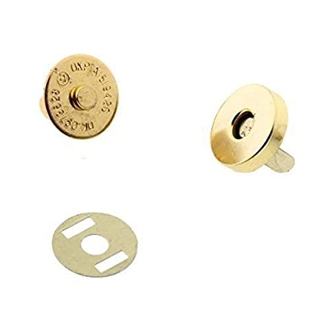 2 x 14mm Gold Magnetic Snap Fastener for Purses, Bags, and Crafts - Clasp with Male and Female Parts - Press Stud Closure with 2 Metal Backing Washers - Popper for Sewing and Clothing
