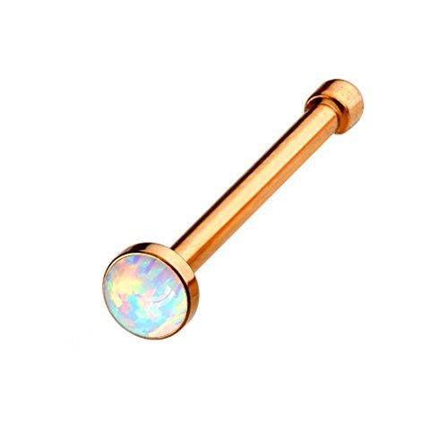 PiercedOff Piercing nez tige droite opale blanche (disponible en 3 couleurs) Or Rosé