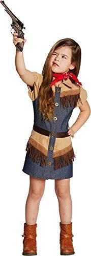 Kinderkostüm Cowgirl Gr. 116- 164 Mädchen Jeanskleid Fasching Western Kostüm (128)