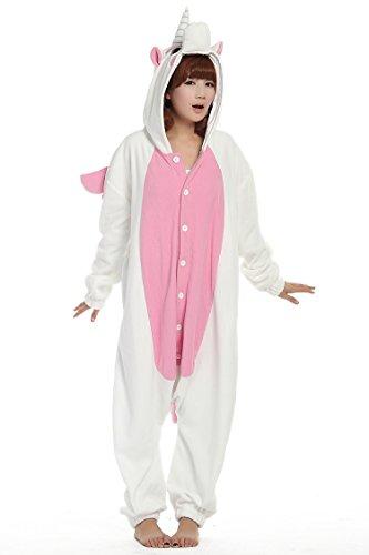 Donna Uomo Donna Unisex in pile Animal Onesies-Pigiama Pigiama costumi Halloween Pink Unicorn Medium