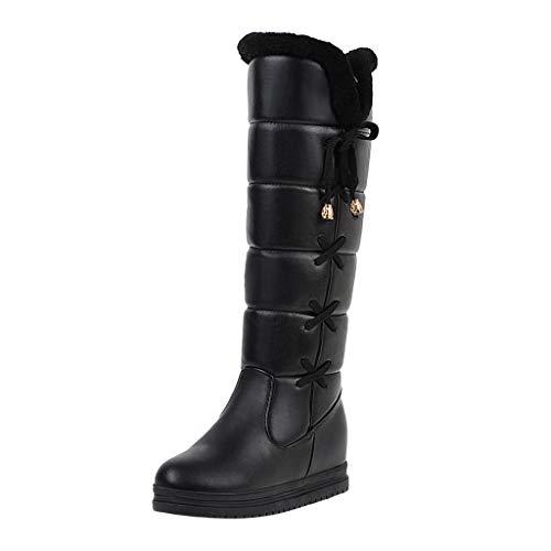 NMERWT Damen Stiefel Winter Elegant Knie Stiefel Süß Lange Stiefel Freizeit Wedges Schuhe Frauen Stiefeletten Round Toe Lace-Up Warm Schnee Stiefel