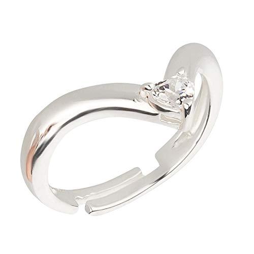 SL-Silver Ring Anello da Piede V Design con Cristallo in Argento Sterling 925, Misura Regolabile, con Custodia in Regalo e Argento, Colore: Bianco, cod. SL-toe197