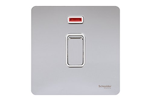 Preisvergleich Produktbild Schneider Electric Ultimate Screwless Flat Plate 20AX DP Switch with Neon Polished Chrome White Insert by Schneider Electric