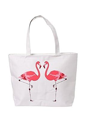 Puckator Flamingo Design Zip Fastening Cotton Tote Bag