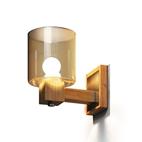 ZDD Massivholz Wandleuchte, Crystal Amber Glas Lampe, Wohnzimmer Schlafzimmer Nachttisch Badezimmer Treppe Korridor Gang Dekoration Lampe E14 Lichtquelle