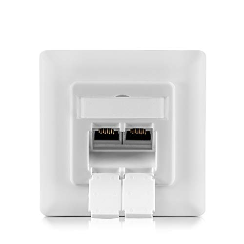 benon Netzwerkdose universal CAT 6a Ethernet - vollständig geschirmt - RAL 9003 Signalweiß - Aufputz oder Unterputz - RJ45, 500MHz, 10Gbit -