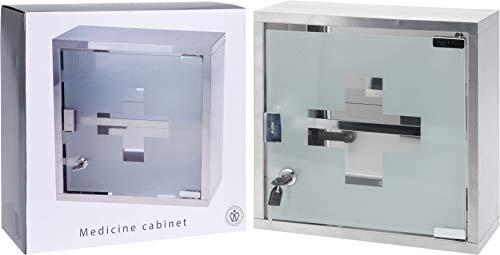 Armadietto da parete con serratura a 2 chiavi, armadietto, cassetta di pronto soccorso, porta in vetro