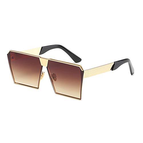 CCGKWW Weinlese-Farbige Steigungs-Sonnenbrille-Frauen-Große Quadrat-Goldrahmen-Sonnenbrille Für Frauen-Weibliche Schatten-Orange Gelb