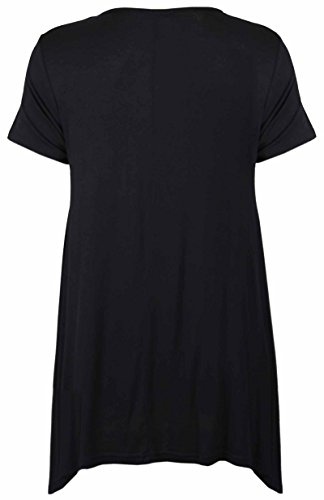 Purple Hanger - Tunique Femme Ourlet Inégal Manche Courte Imprimé Floral Rose Jersey Grande Taille Neuf Schwarz