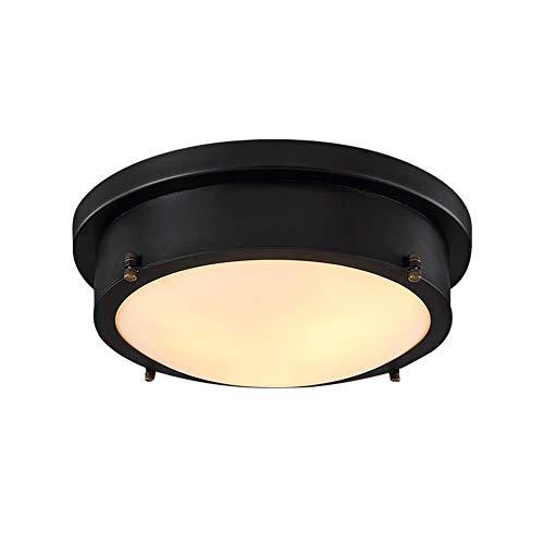 IACON Retro Rund Deckenlampe 18W LED Warmweiß Antik Metall Deckenleuchte industrie Küche Decken Beleuchtung Glas Esszimmerlampe Wohnzimmer Schlafzimmer Vintage Leuchtmittel bad lampe Landhaus Flur -