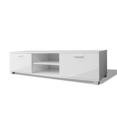 vidaXL Hochglanz TV-Schrank Fernsehtisch Lowboard Sideboard Weiß 140x40,3x34,7cm