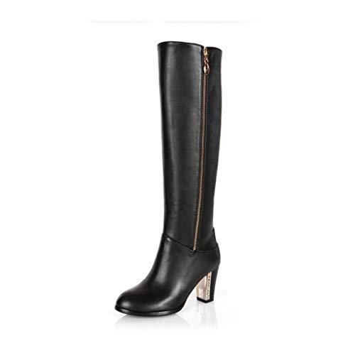 HAOLIEQUAN Frauen-Knie-Stiefel-Winter-Schnee-Stiefel High Heel Fashion Reißverschluss-Frauen-Reitstiefel-Schuhe Plus Größe 30-45, Schwarz, 6