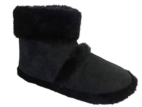 MENS kühler Hausschuhe mit PELZRAND (Medium 9-10 UK, schwarz) - Platt Teppich