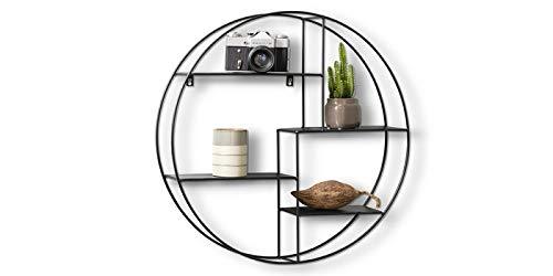 Lifa living mensola da muro design, metallo nero, mensole parete sospesa con 4 ripiani, porta oggetti, foto, stile vintage (rotonda)