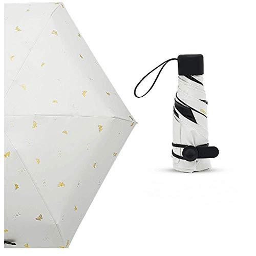 BBQBQ Sonnenschirm Sonnenschutzschirm ultraleichter Kleiner Fünffachschirm Miniregenschirm 50% Schmetterling weiß