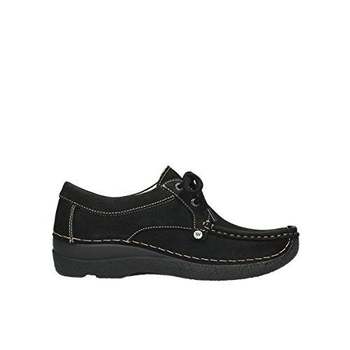 Laccio Wolky scarpe, 6286 squallido Stroll Nero (100 schwarz Nubuk)