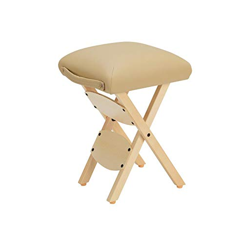Qrfdian sgabello pieghevole in legno portatile sgabello in legno massello sgabello per estetica portatile sgabello per massaggio tecnico adatto per famiglia all'aperto (colore : beige)