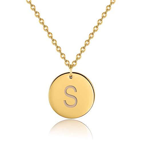 URBANHELDEN - Buchstaben-Kette - Gold Damen-Kette mit deinem Wunschbuchstaben - Wunschgravur Alphabet - Personalisierte Buchstabenkette - Schmuck Gold - Buchstabe S