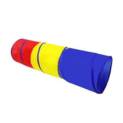 CDKJ 180 * 46cm Kinder-Indoor-Spielregenbogen kriechen Tunnelzelt rot, gelb und blau EIN Kleid Spielzeug-Zelt