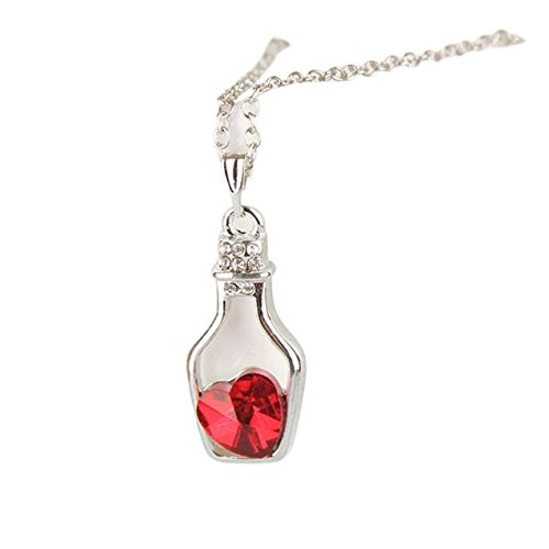 Lialbert collana lunga da donna moda a forma di cuore bottiglia alla deriva pendente girl/femmina regalo speciale
