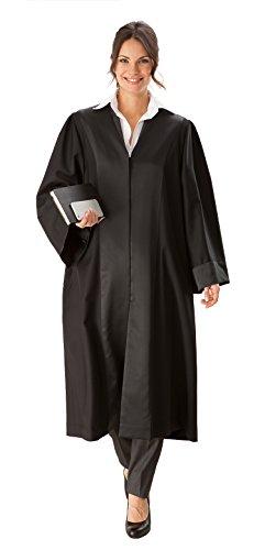 Die Robe – schwarze Rechtsanwalts-/Anwaltsrobe für Damen aus reiner Schurwolle mit Atlas Besatz – Größe S (34/36)
