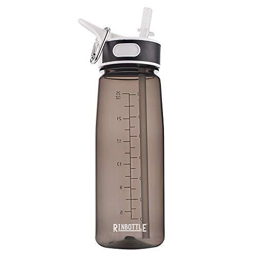RINFLASCHE Wasserflasche Sport Wasserflasche mit Strohhalm Wiederverwendbare Wasserflasche mit Griff Reise Sport Flasche für Laufen Wasserflasche für Wandern Gym Kunststoff 800 ml, schwarz (Mit Griff Sport-flasche)