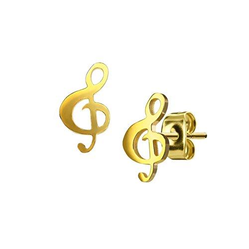 beyoutifulthings Damen 1 Paar funkelnde Ohringe GROSSER NOTENSCHLÜSSEL 6,5x12 mm Ohr-ringe Ohr-stecker Chirurgenstahl Gold
