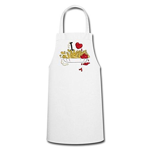 Spreadshirt I Love Pommes Ich Liebe Fritten Kochschürze, Weiß