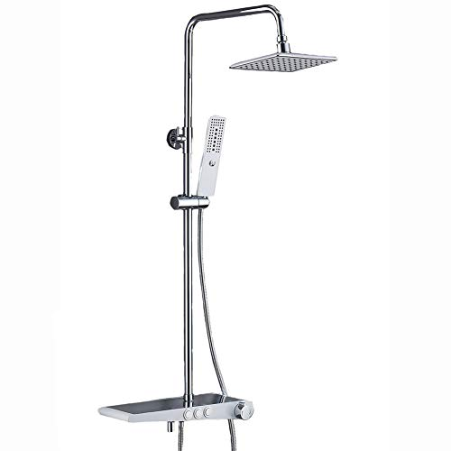 Funktionen Duschsystem mit Regal Duscharmatur Duschset Duschsäule inkl. Überkopfbrause Handbrause Badewannearmatur,White