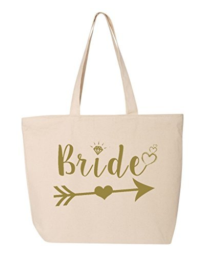 shop4ever Braut Herz Pfeil gold Heavy Canvas Tote mit Reißverschluss Hochzeit; Wiederverwendbare Einkaufstasche 12Oz Zip, Textil, natur, 25 oz