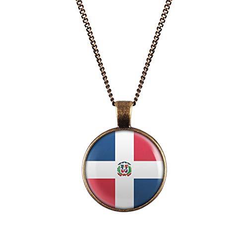 Mylery Hals-Kette mit Motiv Dominikanische Republik Dominican Republic Santo Domingo Flagge bronze 28mm -